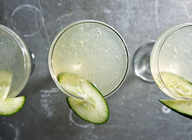 Cocktail with Cucumber garnish